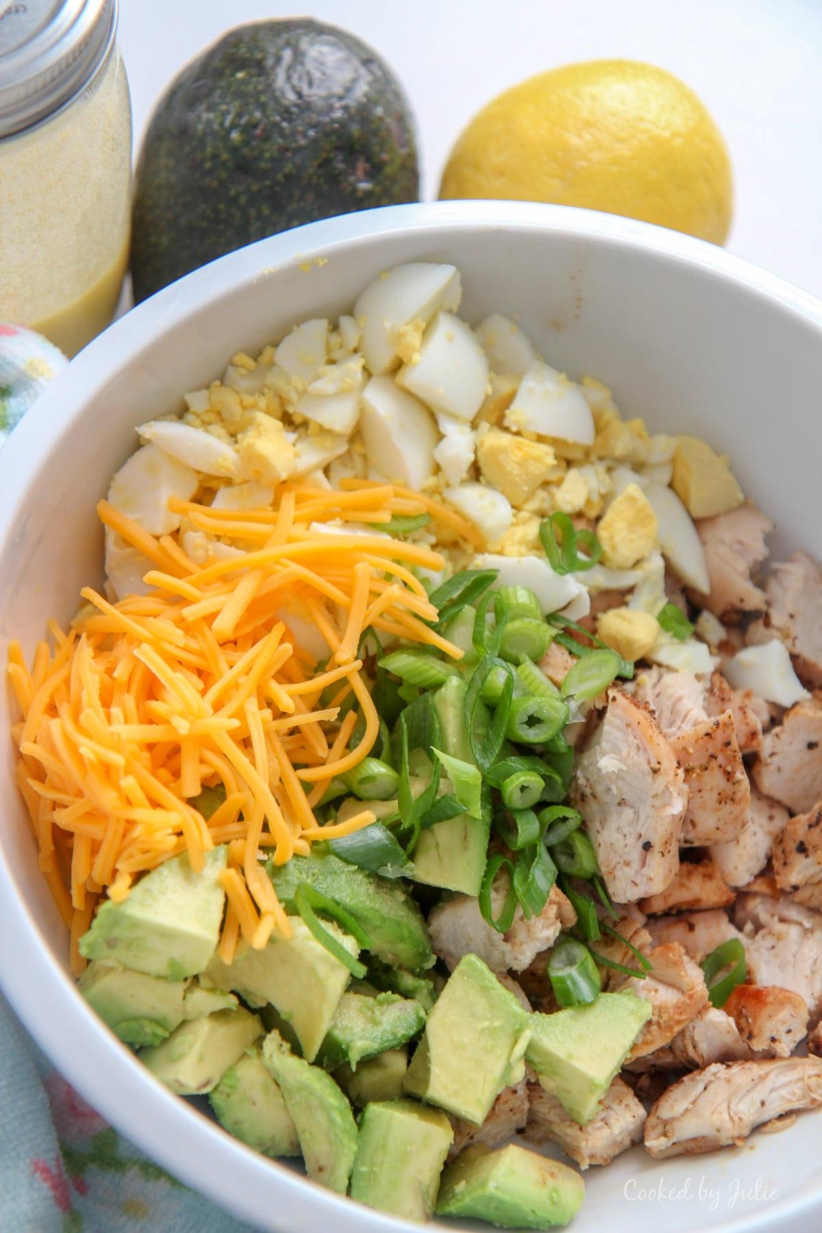 easy avocado chicken salad in a bowl