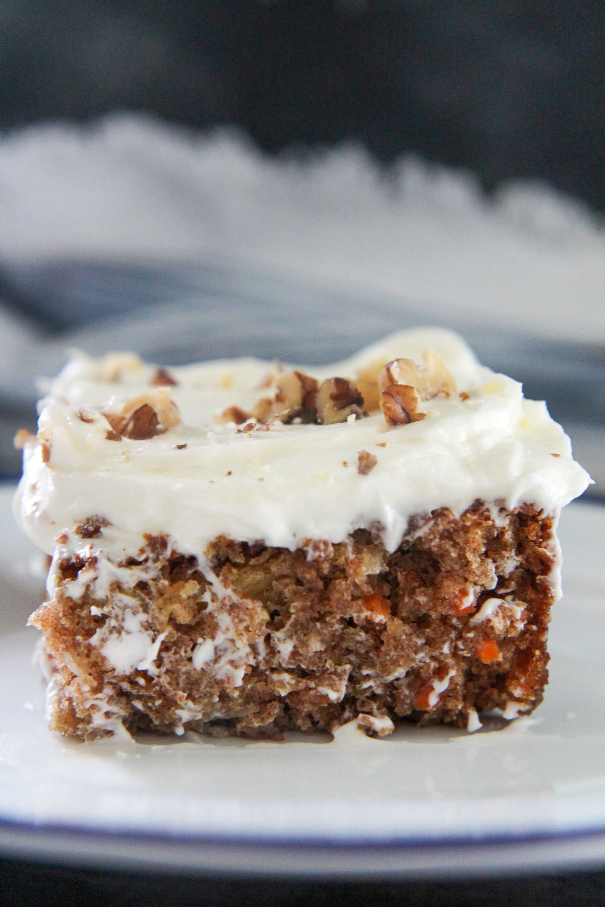 a slice of carrot cake up close