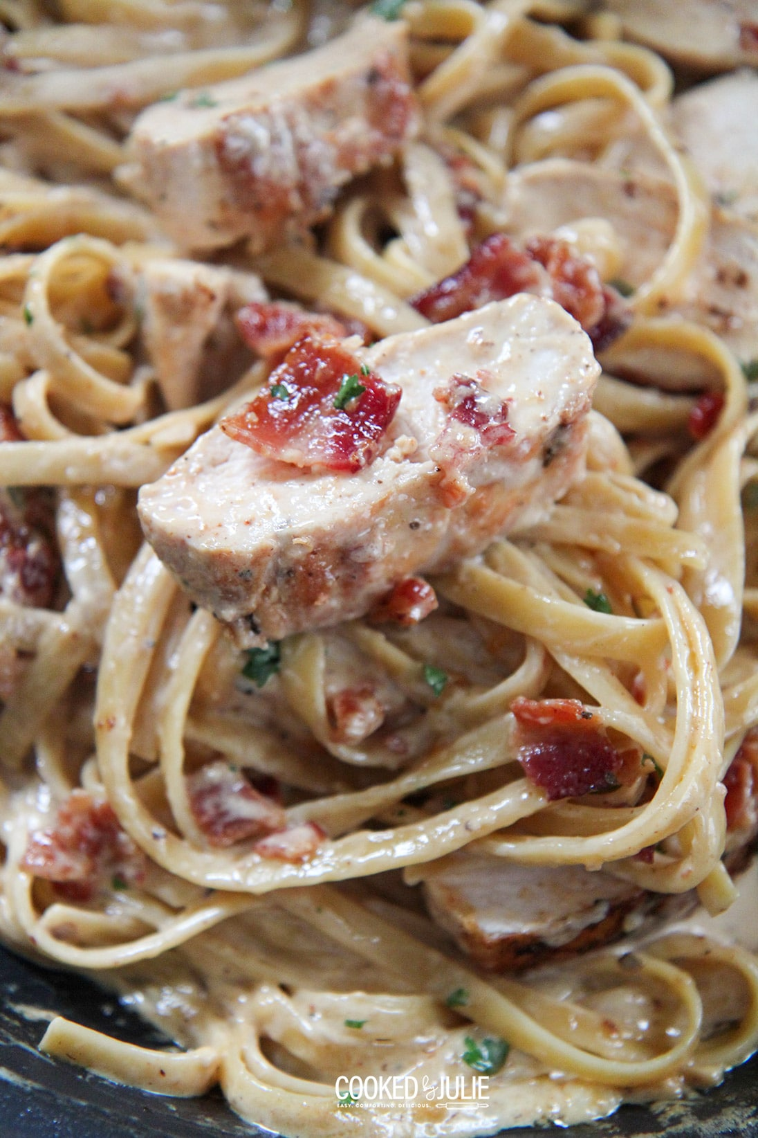 creamy chicken and bacon pasta up close