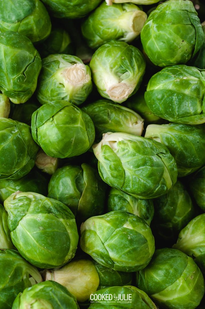 a lot of raw Brussel sprouts up close