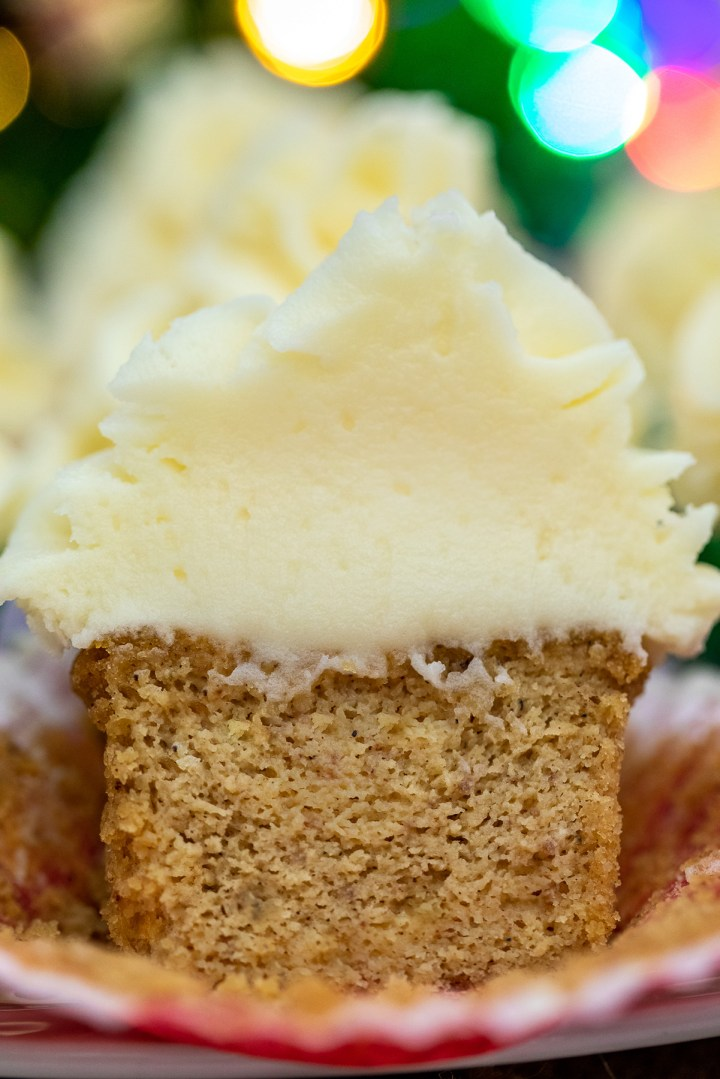 the inside of a gingerbread cupcake up close