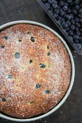 lemon blueberry cream cheese coffee cake with fresh blueberries on the side