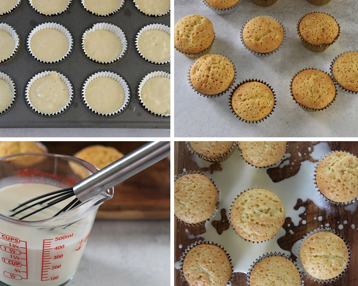 a collage with four recipe steps. A cupcake liner with cupcake batter, baked cupcakes, a measuring cup with milk, and baked cupcakes with milk mixture on top.