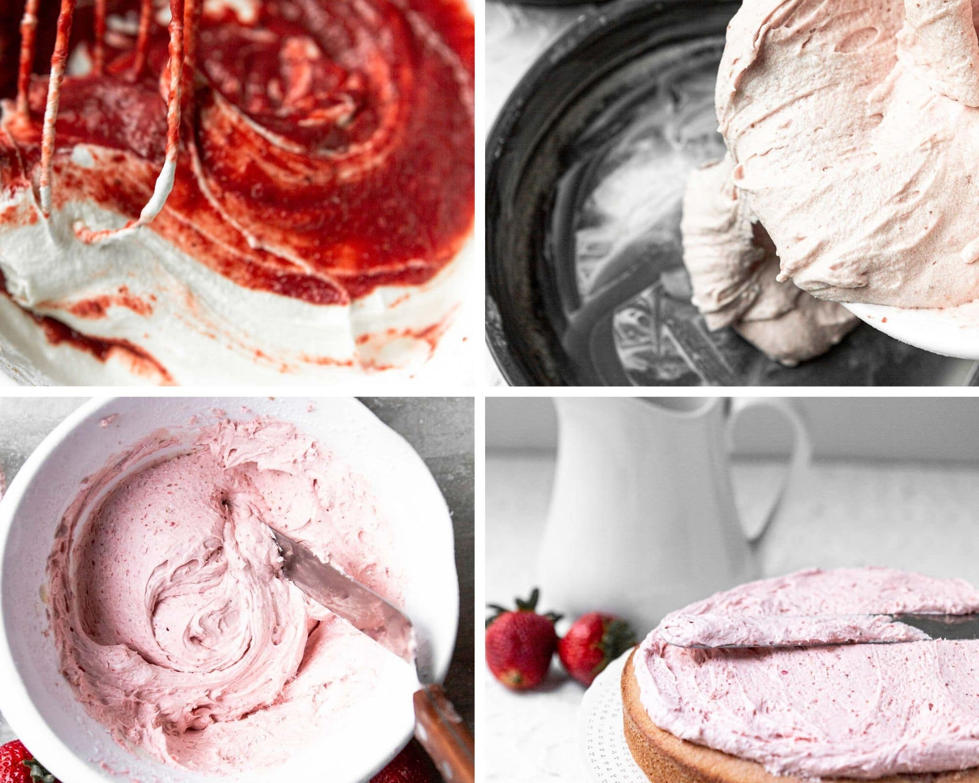 a collage with four photos, a photo showing cake batter, another photo showing cake batter being poured into a cake pan, cream cheese frosting in a bowl, a layer of cake being frosted.
