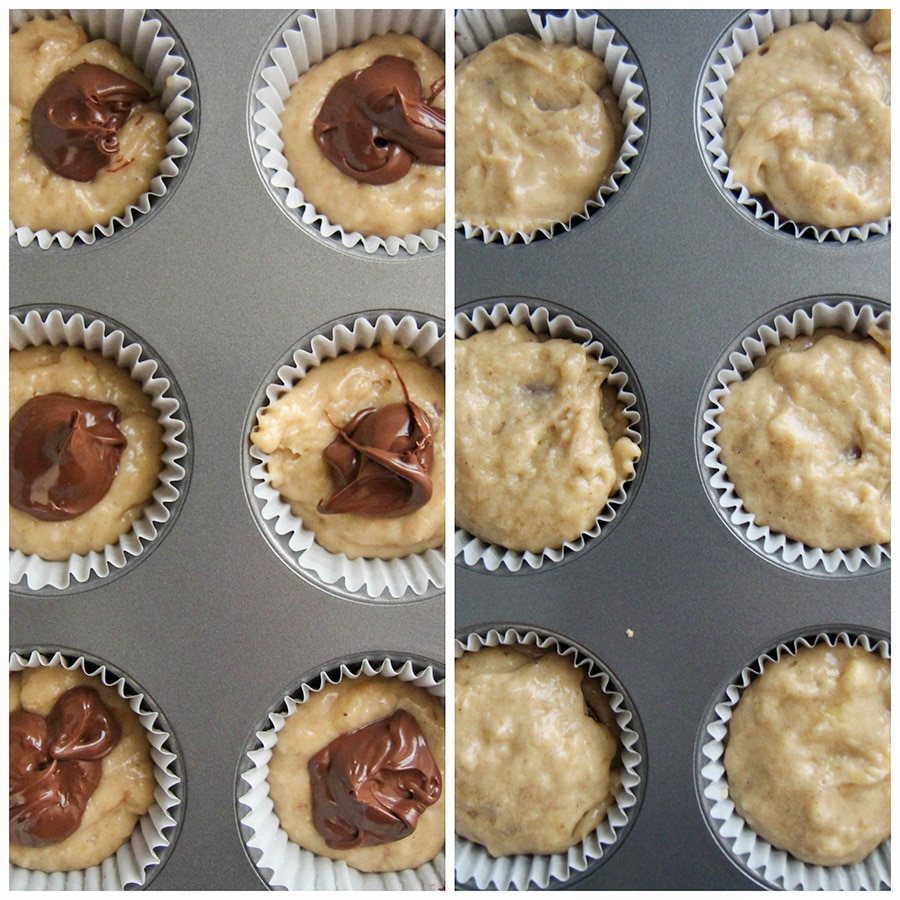 a photo collage with two photos showing muffin batter in a muffin tin