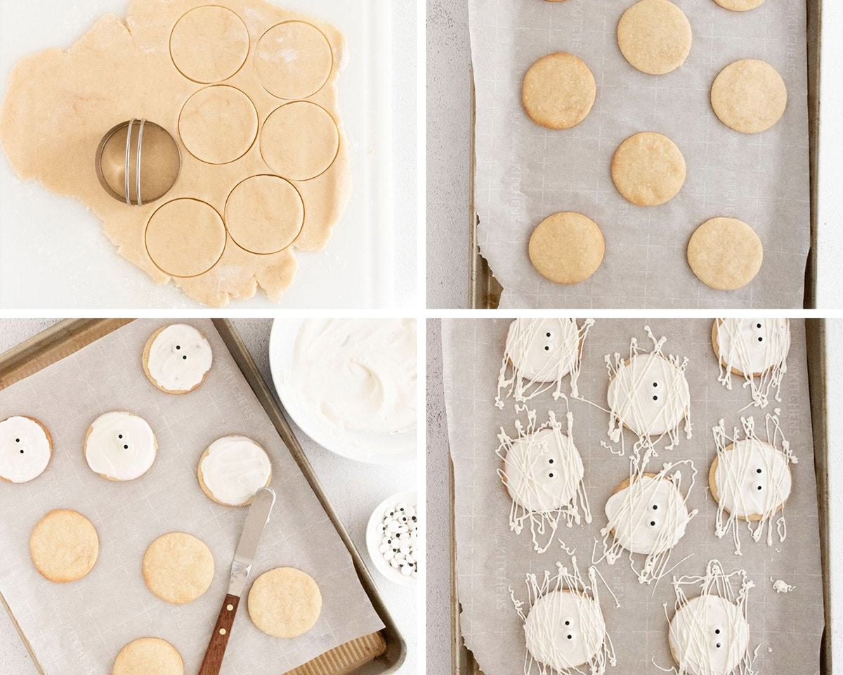a collage with four photos showing the cookie making process.