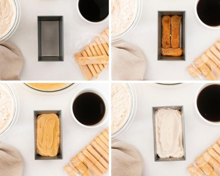 a collage with four photos. One photo showing an empty loaf pan with ingredients. The rest of the photos are showing the tiramisu process.