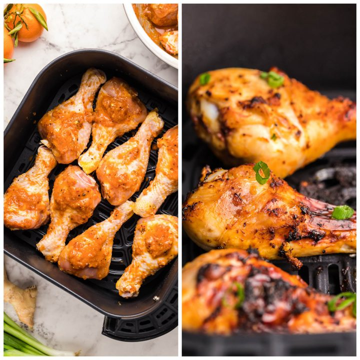photo collage with 2 photos showing raw chicken legs in the air fryer and cooked chicken legs in the air fryer.