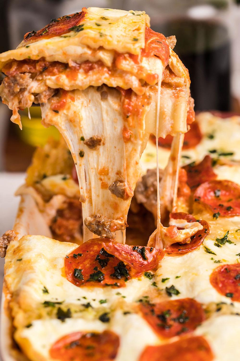a slice of lasagna up close.