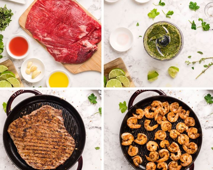 collage with four photos showing raw flank steak, chimichurri in a food processor, cooked steak, and cooked shrimp.