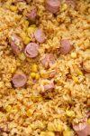 arroz con salchichas up close.