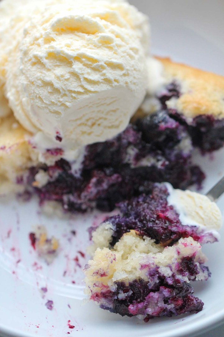 blueberry cobbler with a scoop of vanilla ice cream on top.