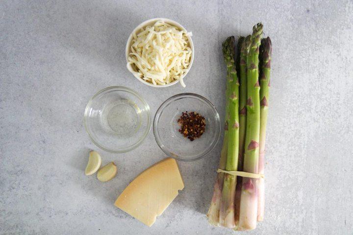 ingredients for cheesy garlic asparagus