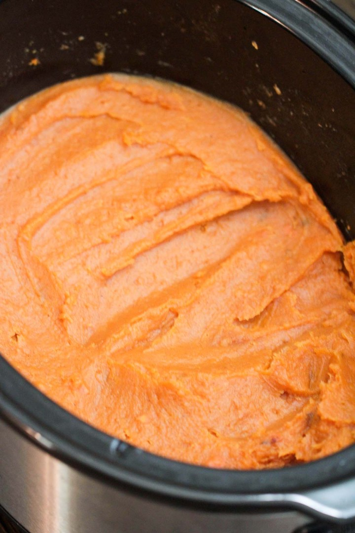 mashed sweet potatoes in the slow cooker.