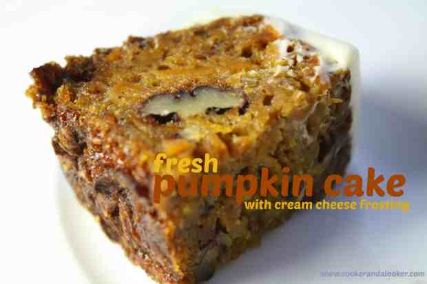 fresh pumpkin cake with cream cheese frosting - Cooker and a Looker
