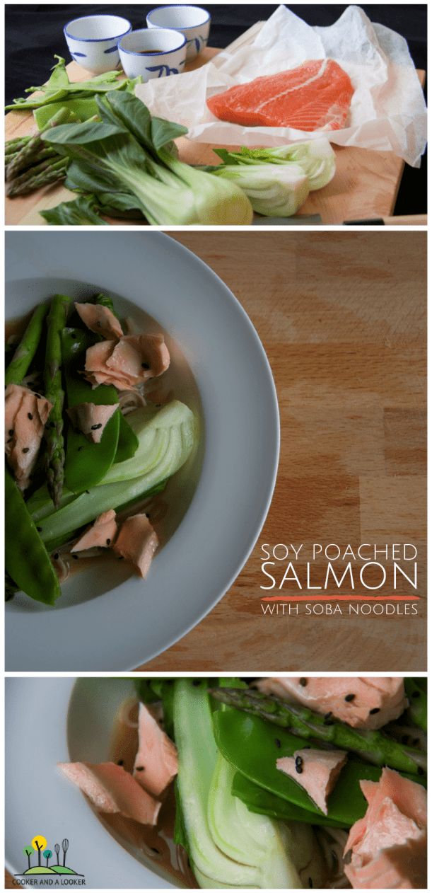 soy poached salmon with soba noodles