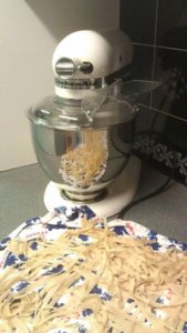 The KitchenAid cutting tagliatelle pasta