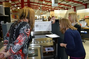 The CookersAndOvens team taking a good look at our ILVE cookers in the showroom