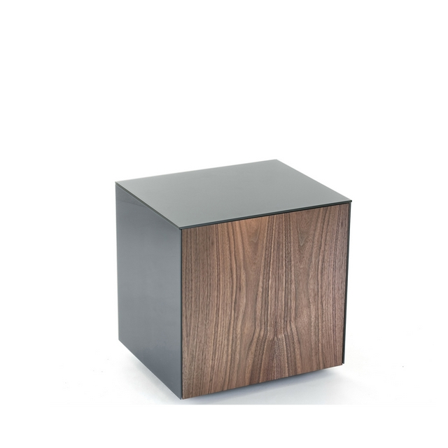 lamp table with wireless phone charging in grey