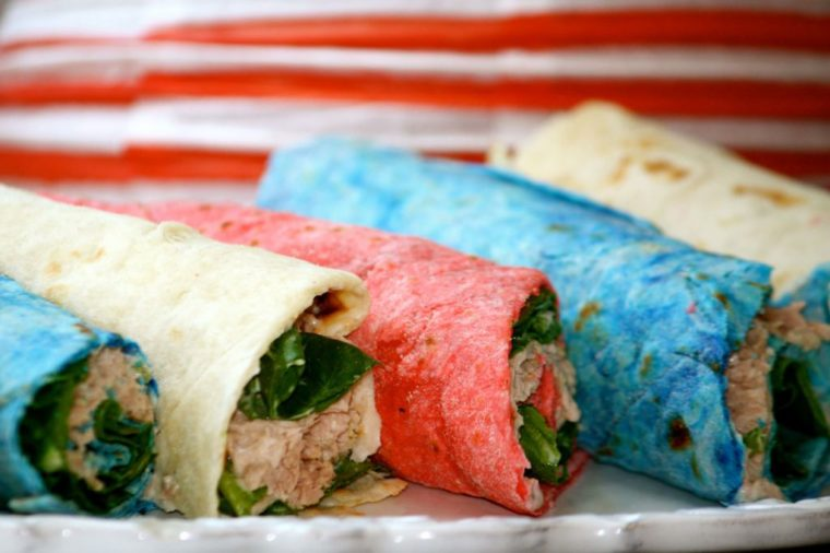 Red, White, and Blue Homemade Tortillas