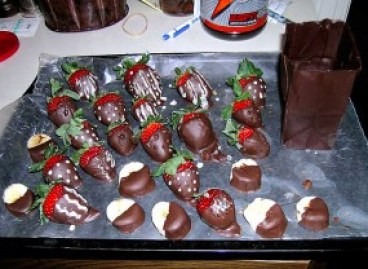 Valentine's Day Chocolate strawberries and bags