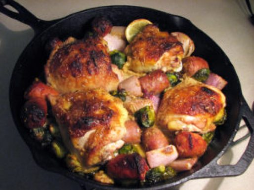 Chicken, Italian Sausage, Brussel Sprouts and Shallots One Skillet Dinner