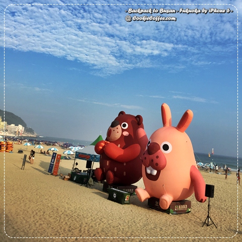 kakao-line-mascot-doll-busan-haeundae-beach-review-pokopang-sea-sky-blue-korea