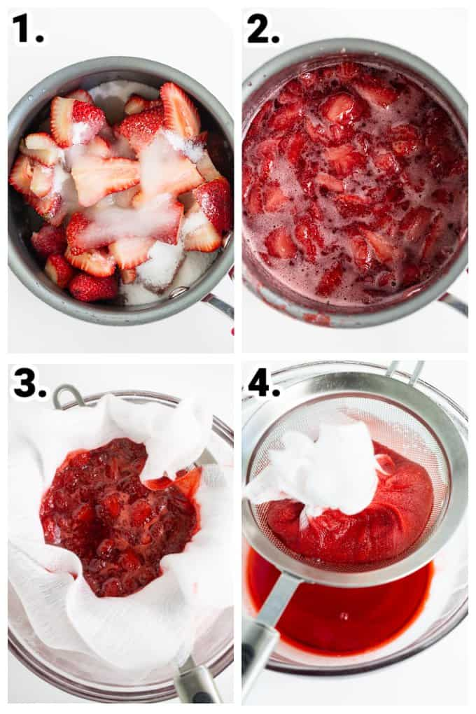 step-by-step photos of ingredients being added to a small saucepan, cooking down the strawberries, and draining the strawberries with a strainer and a glass bowl all done on a white surface