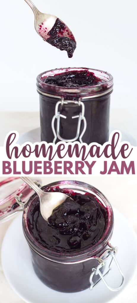 collage of blueberry jam photos with the title in text in the center for pinterest