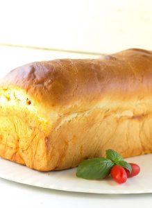 Caprese Bread - mozzarella and tomato basil sauce rolled up in homemade bread