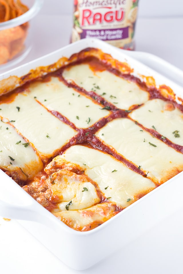 pan of warm and cheesy Lasagna Dip