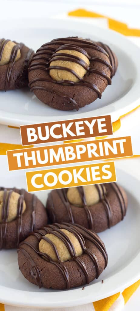 collage of photos showing the buckeye cookies on a white plate with block text in the middle