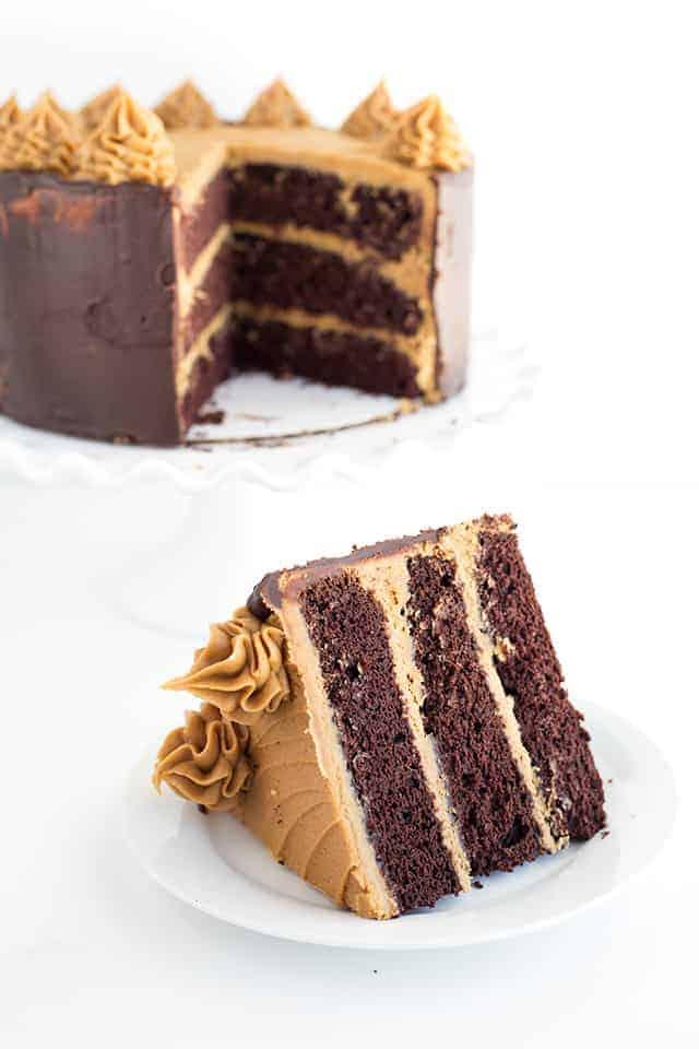 A slice of mocha layer cake