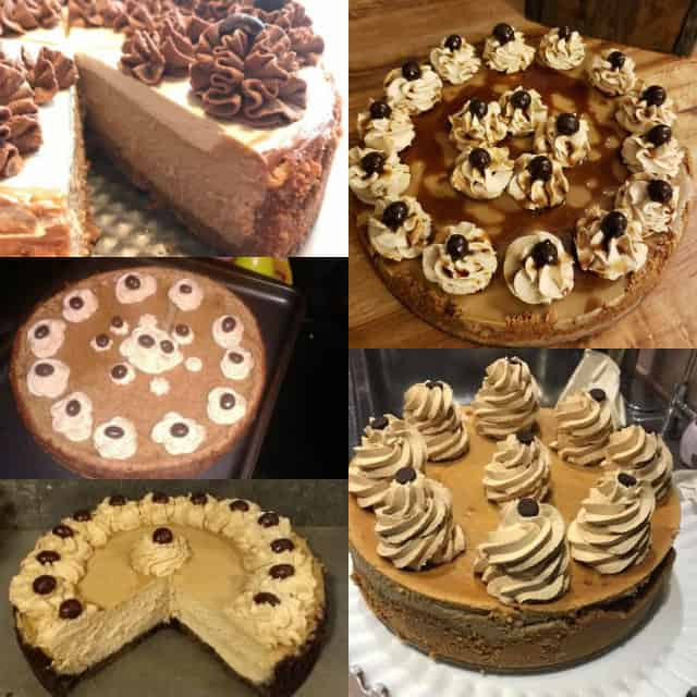 Collage of coffee cheesecakes for the October baking challenge.