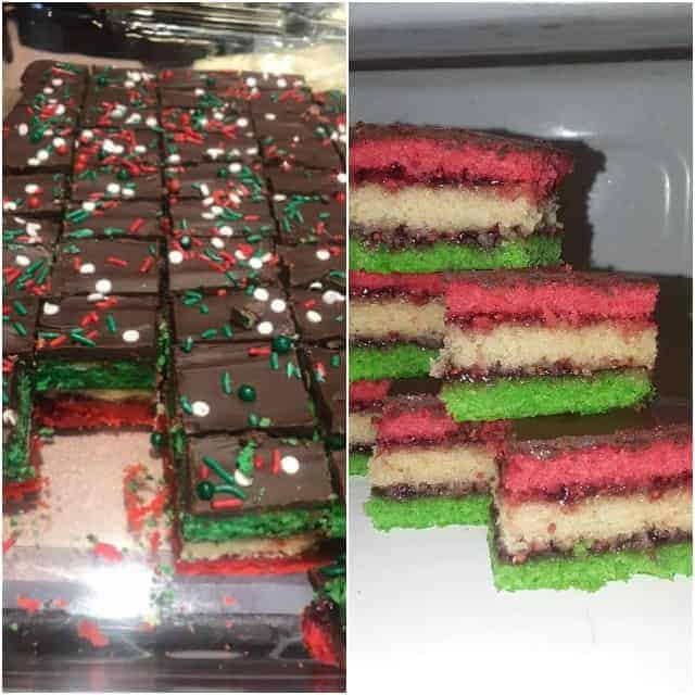 collage photos of rainbow cookies for a baking challenge