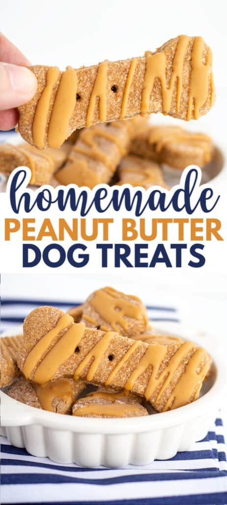 collage of dog treats in a white dish with a blue striped fabric with text in the middle