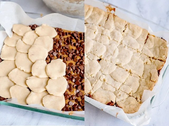 collage of photos showing adding shortbread to the bars and after the shortbread is baked