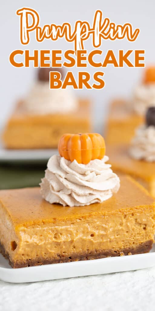 zoomed in photo of cheesecake bars on a white plate with text at the top