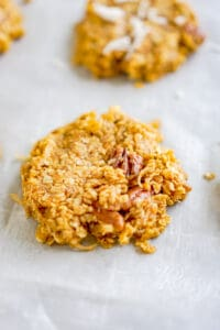 no bake cookie on a piece of parchment paper