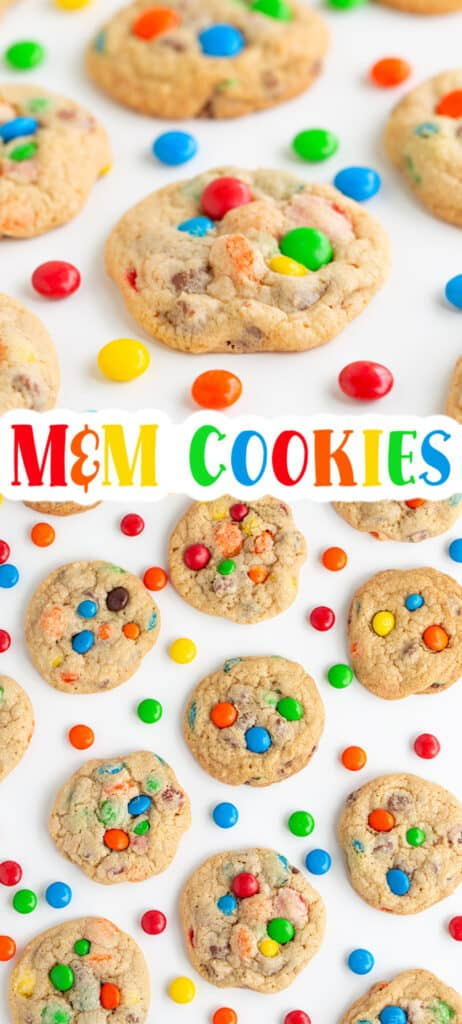 collage of photos showing m&m cookies and M&M's scattered with text in the middle