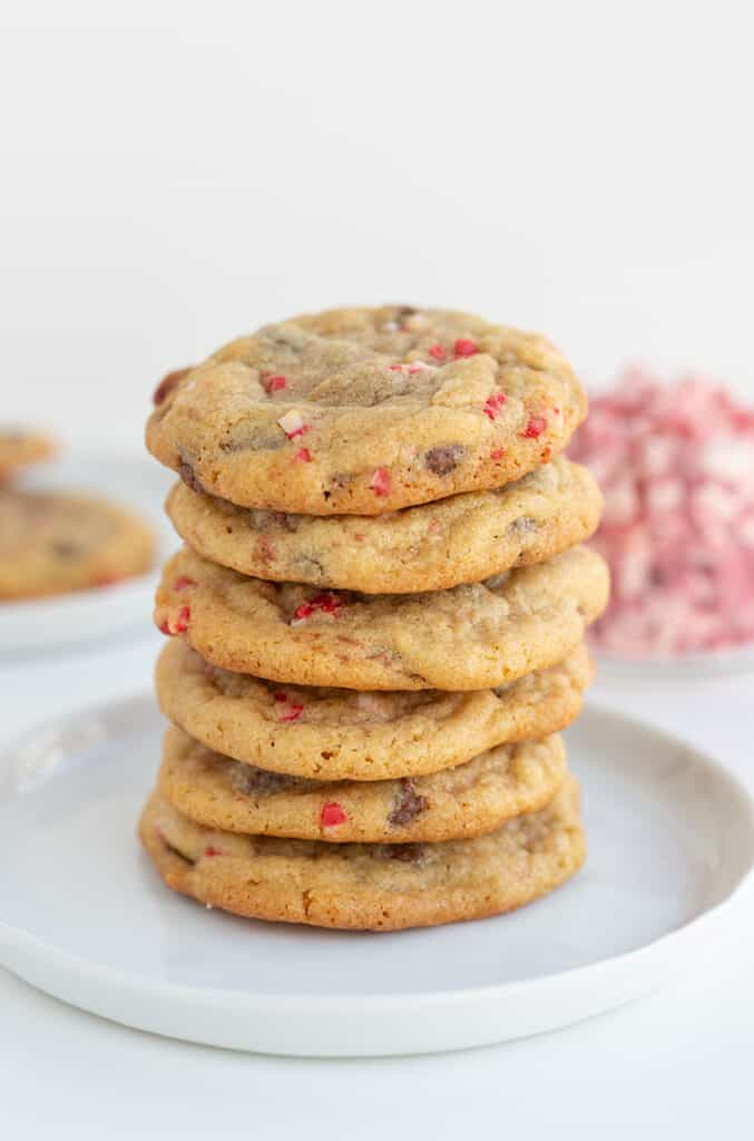 stack of chocolate chip cookies on a white plate