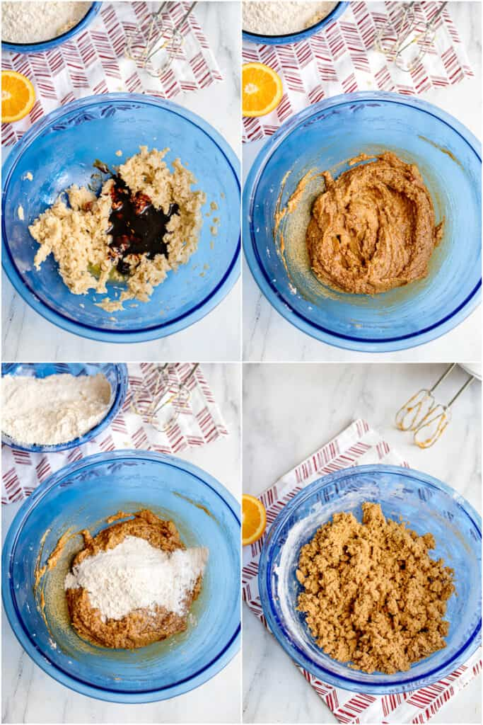 collage of photos alternating adding in molasses mixture and flour mixture in a blue bowl