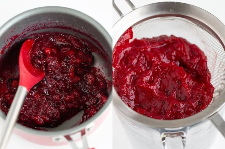 collage showing the cranberry sauce and the cranberry puree