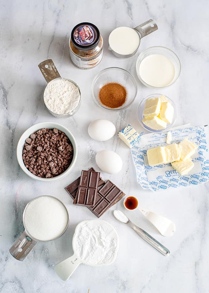 overhead photo of the ingredients for espresso brownies