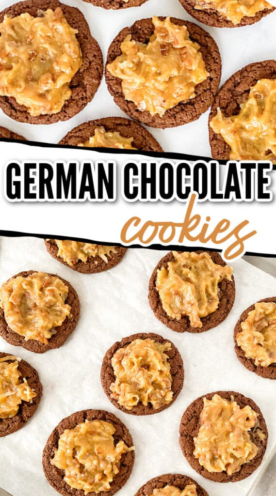 collage showing zoomed in overhead images of the german chocolate cookies with text in between the images