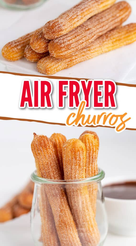 collage showing a stack of churros and a second image of a glass full of churros with recipe name in the center
