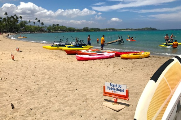 Oceans Sports Aloha Days water toys at Anaeho'omalu Bay aka A-Bay on the Big Island of Hawaii.
