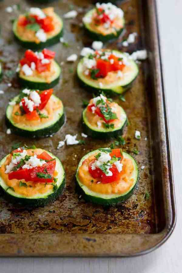 Baked Zucchini Hummus Bites - Healthy Snack or Appetizer
