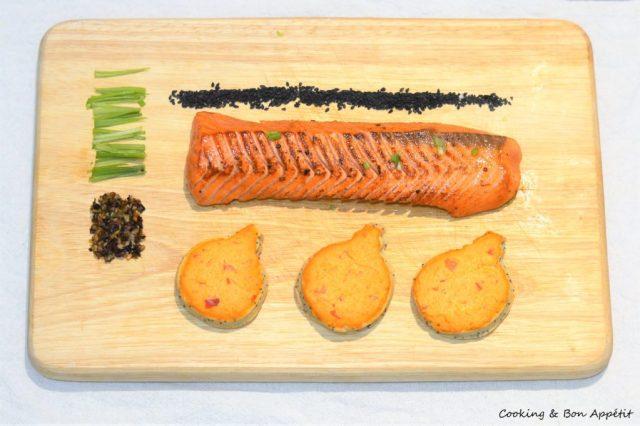 Toasts Sables Saumon Tataki Houmous Rouge Et Sesame Cooking Bon