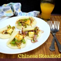 Chinese Steamed Bao Buns with Roasted Paneer and Vegetables